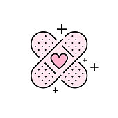 istock Band aid heart line icon 1170715801
