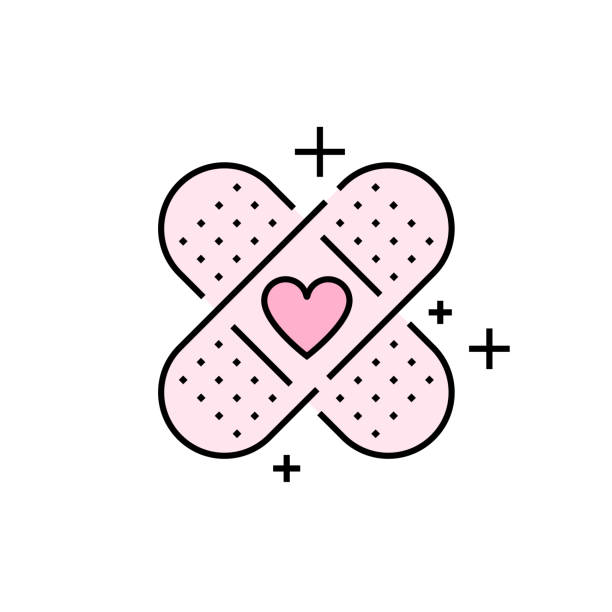 Band aid heart line icon Band aid icon. Pink plaster symbol. Love bandage heart sign. Vector illustration line icon. adhesive bandage stock illustrations
