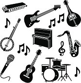 Vector illustrations of musical instruments.