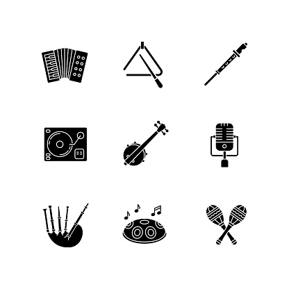 Band musical instruments black glyph icons set on white space