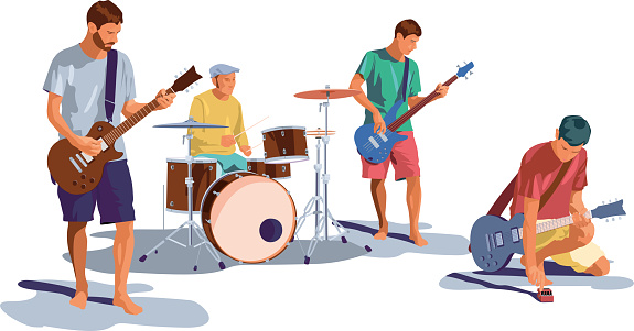 Band of four musicians dressed with summer flashy clothing are playing together