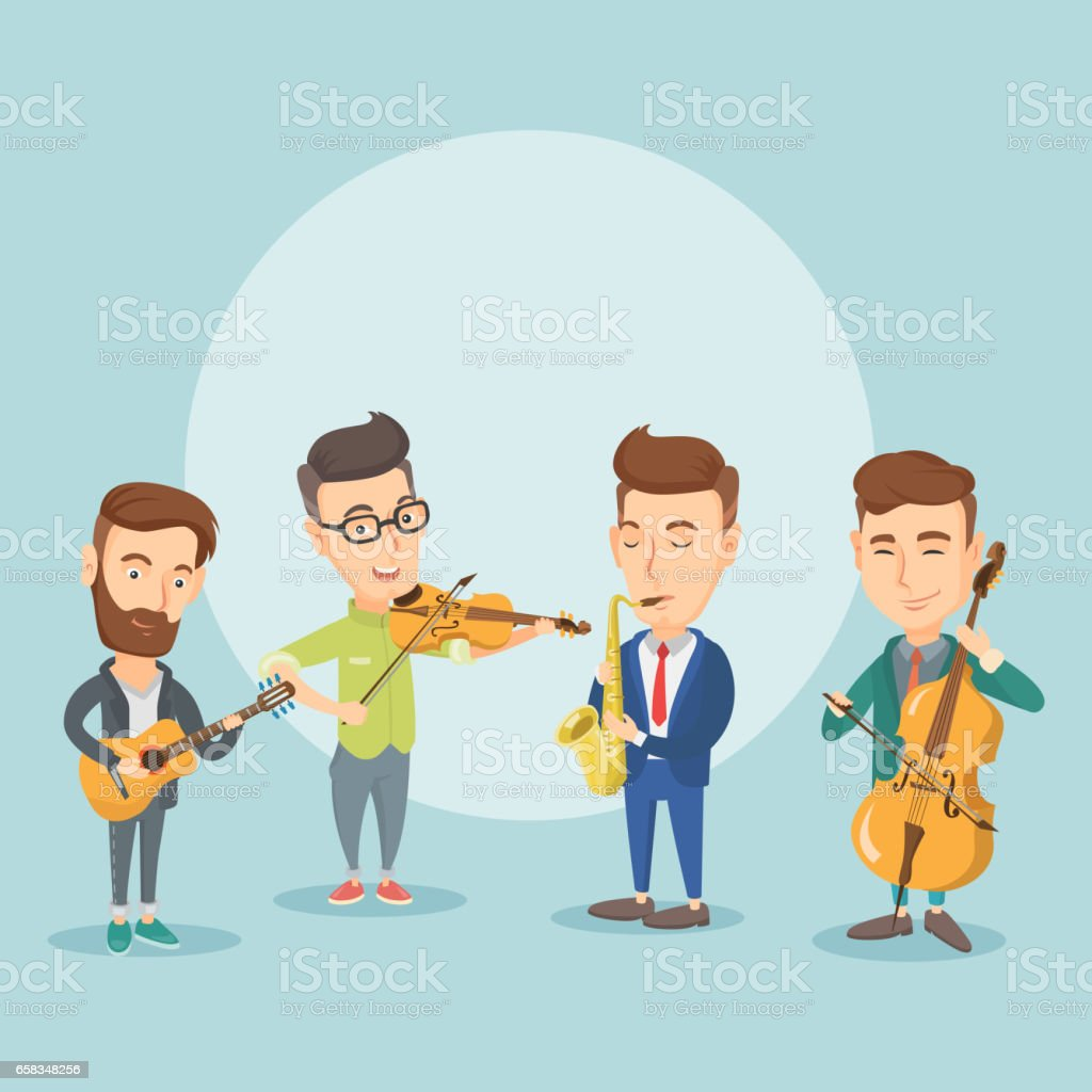Band of musicians playing on musical instruments vector art illustration