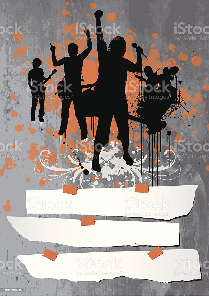 Band on Concrete Wall vector art illustration