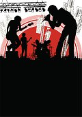 vector Illustration of a musical band on stage