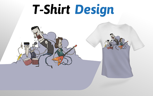 Band rocking out on stage in smoke, t-shirt print. Mock up t-shirt design template. Vector template, isolated on white background.