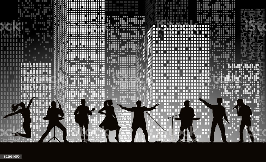 Band show on night city background at grey style. Festival concept. Set of silhouettes of musicians, singers and dancers. Vector illustration vector art illustration