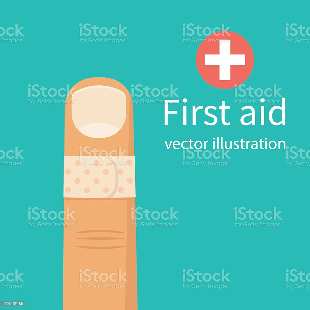 Bandage on finger. vector art illustration