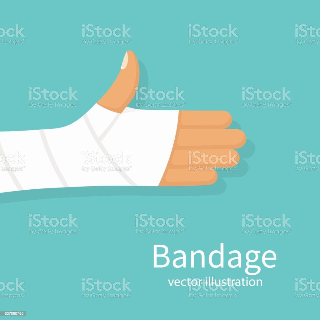 Bandage on hand human vector art illustration