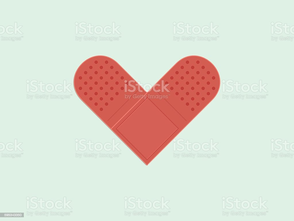 Bandage plaster, Heart shape vector art illustration
