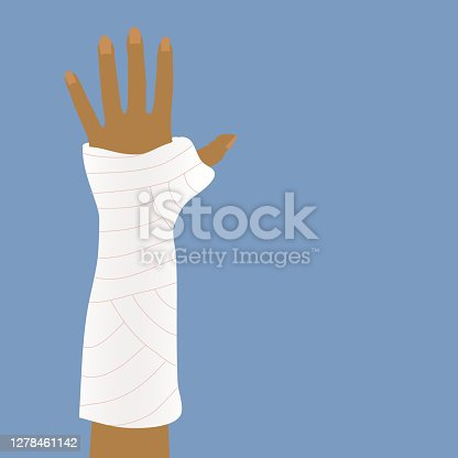 istock Bandages or cast for broken arms. 1278461142
