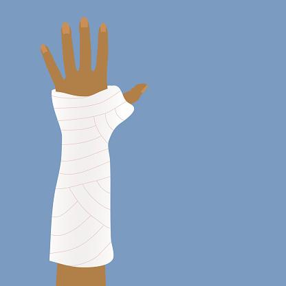 Bandages or cast for broken arms.