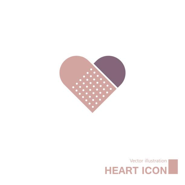 Band-aid and heart-shaped symbols. Band-aid and heart-shaped symbols. adhesive bandage stock illustrations