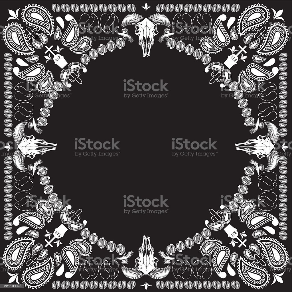 bandana pattern with goat skull vector art illustration