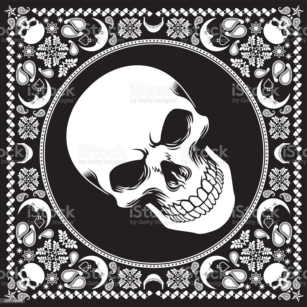 bandana pattern with skull vector art illustration