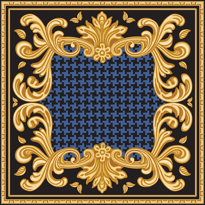 Bandana print on a black and blue chicken feet pied-de-poule pattern background, Gold cables, Greek bead frieze, Baroque scrolls. Scarf, neckerchief, kerchief, carpet, rug, mat. 2 pattern brushes in the palette