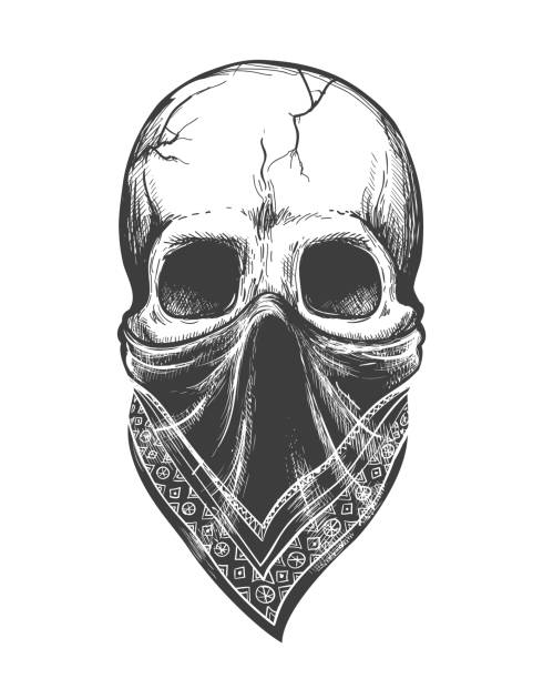 Bandana skull tattoo Bandana skull tattoo. Cartoon black skull gangster with scary bandanna face isolated on white background, death evil pirate skeleton head with scarf vector image bandit stock illustrations