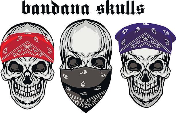 Bandana skull vector art illustration