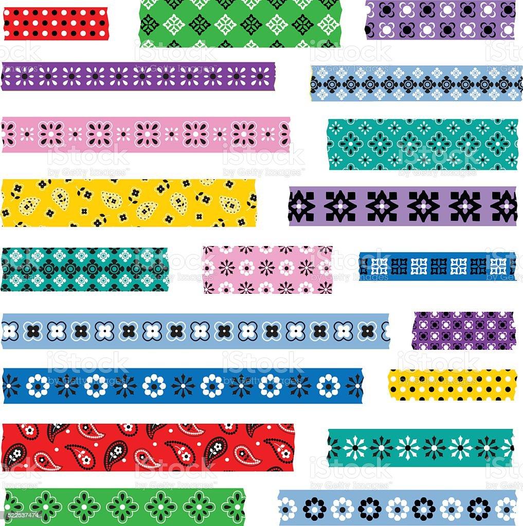 bandana washi patterns vector art illustration