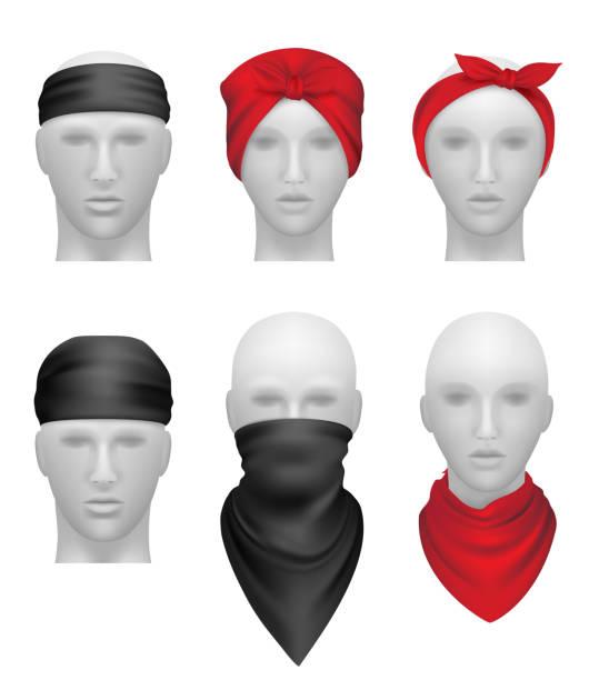 ilustrações de stock, clip art, desenhos animados e ícones de bandanas set. stylish clothes for bikers and gangsters mannequin head vector realistic - lenço do pescoço