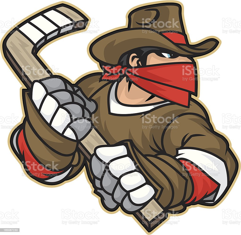 Bandit Hockey Player vector art illustration