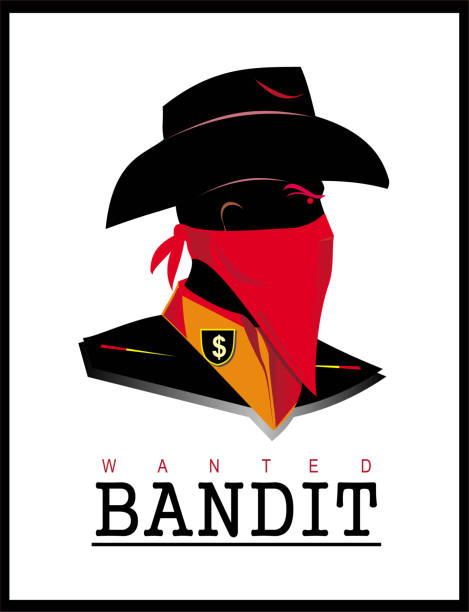 Bandit, wanted, villain covered face bandit head with scarf bandit stock illustrations
