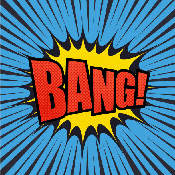 Bang comic bubble text Bang comic bubble text with halftone effect. Pop art style. Radial lines background. Explosion vector illustration bangs stock illustrations