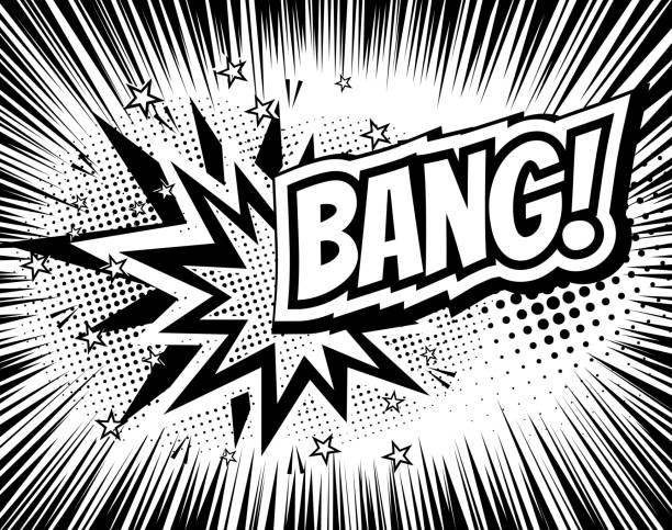 Bang comic cartoon wording. Pop-art style. Vector illustration with – Vektorgrafik