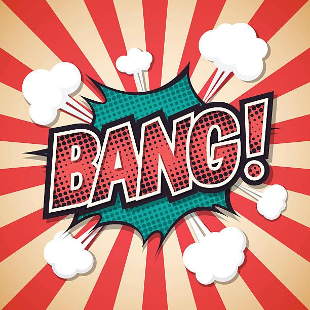 bang, Comic explosion speech bubble. bang text. Vector illustrat bang, Comic explosion speech bubble. bang text. Vector illustration shooting a weapon stock illustrations