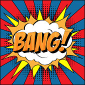 Bang Comic Text on Explosion Speech Bubble in Pop Art Style.