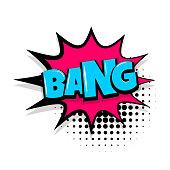 bang boom, gun Comic text speech bubble balloon. Pop art style wow banner message. Comics book font sound phrase template. Halftone dot vector illustration funny colored design.