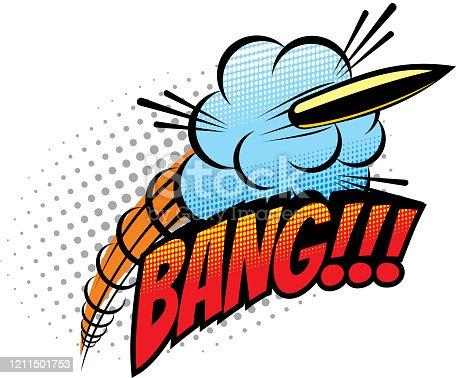 istock Bang sound blast explosion, cartoon comic book 1211501753