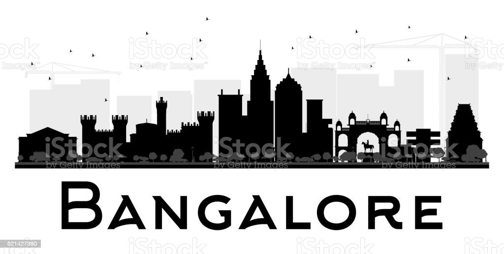 Bangalore City skyline black and white silhouette. vector art illustration