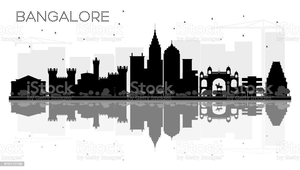 Bangalore City skyline black and white silhouette with reflections vector art illustration