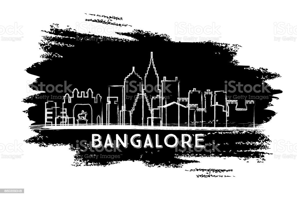 Bangalore India Skyline Silhouette. Hand Drawn Sketch. vector art illustration