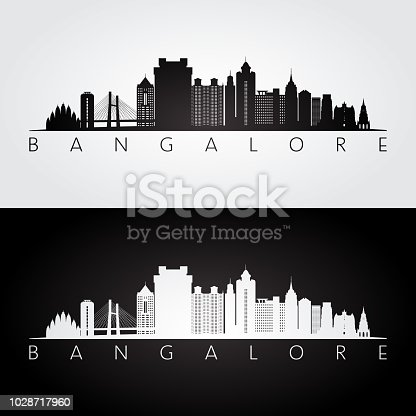 Bangalore skyline and landmarks silhouette, black and white design, vector illustration.