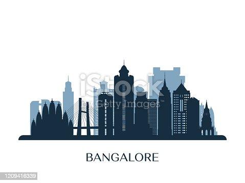 Bangalore skyline, monochrome silhouette. Vector illustration.