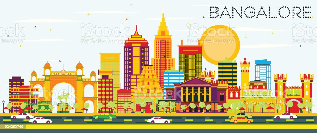 Bangalore Skyline with Color Buildings and Blue Sky. vector art illustration