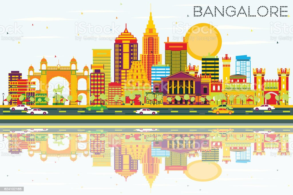 Bangalore Skyline with Color Buildings, Blue Sky and Reflections vector art illustration