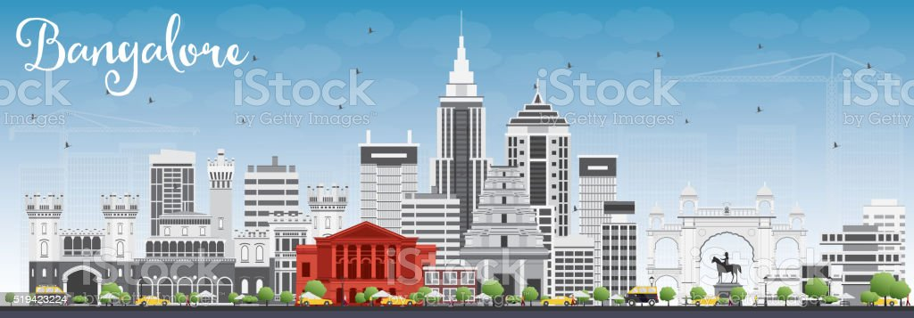 Bangalore Skyline with Gray Buildings and Blue Sky. vector art illustration