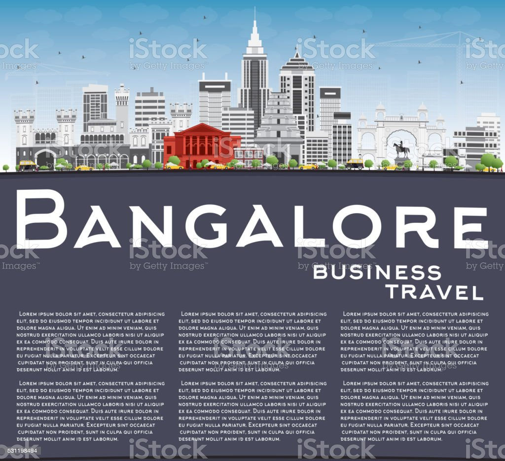 Bangalore Skyline with Gray Buildings, Blue Sky and Copy Space. vector art illustration