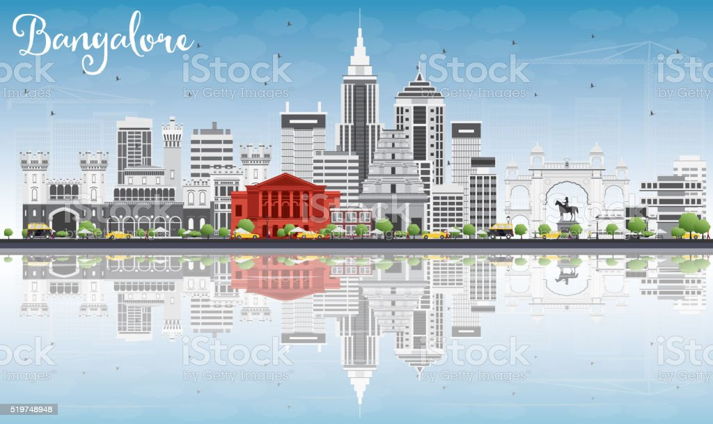 Bangalore Skyline with Gray Buildings, Blue Sky and Reflections. vector art illustration