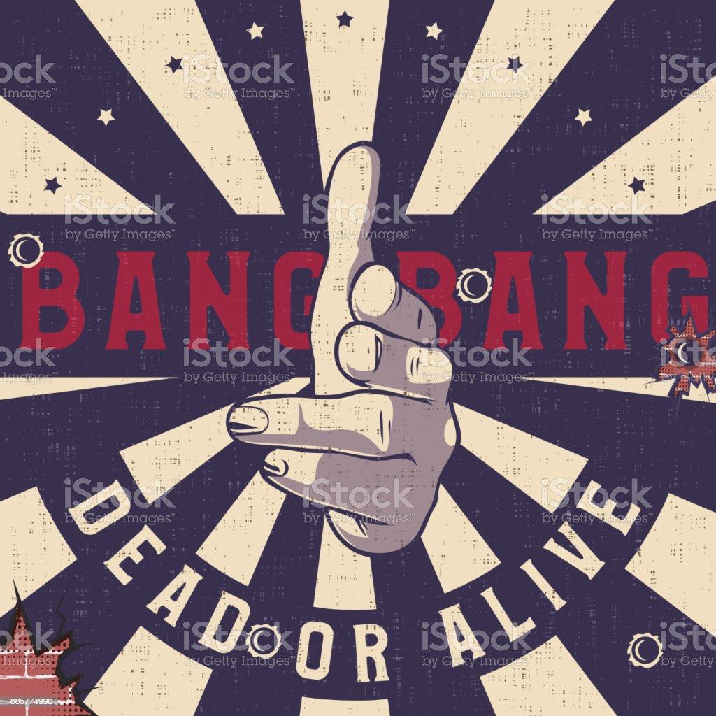 Bang-bang hand gun gesture sign, Vintage explosion background. royalty-free bangbang hand gun gesture sign vintage explosion background stock vector art & more images of abstract