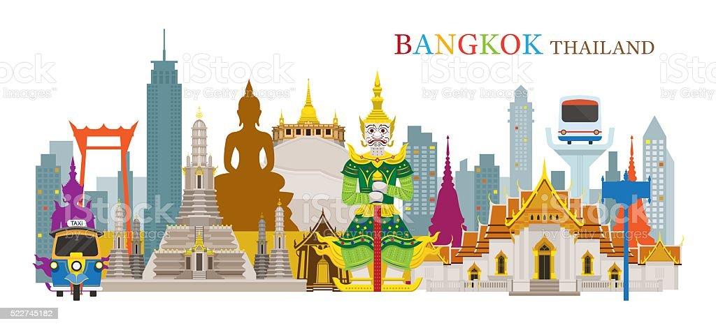Bangkok, Thailand and Landmarks vector art illustration