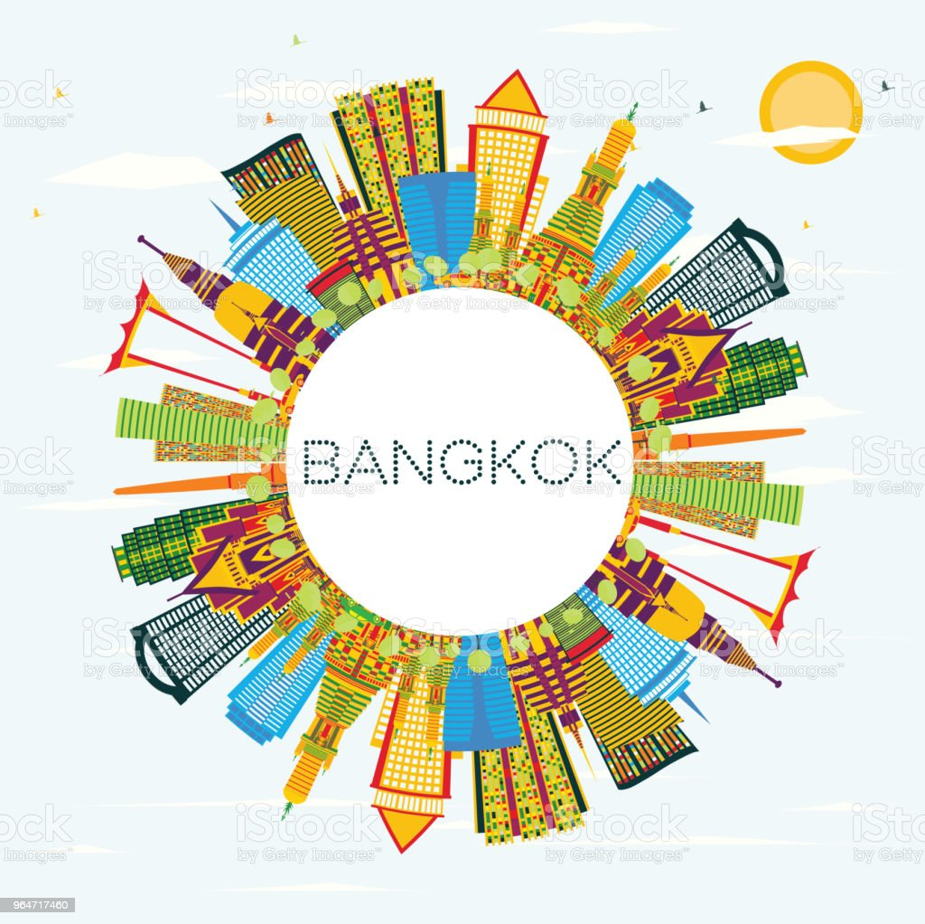 Bangkok Thailand Skyline with Color Landmarks, Blue Sky and Copy Space. royalty-free bangkok thailand skyline with color landmarks blue sky and copy space stock vector art & more images of architecture