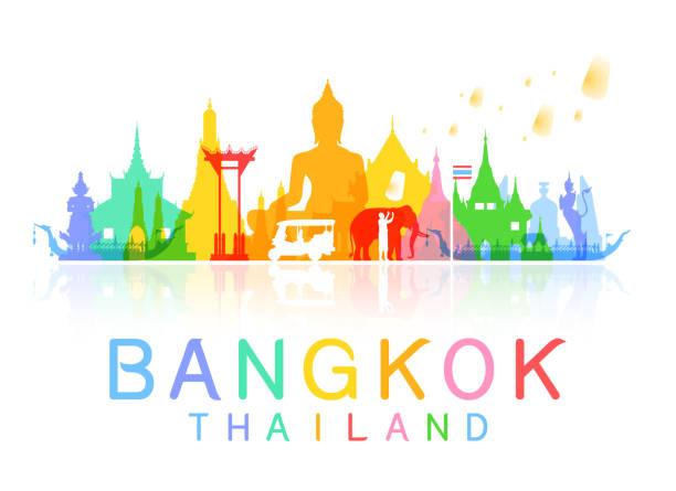 stockillustraties, clipart, cartoons en iconen met bangkok thailand travel. - thailand