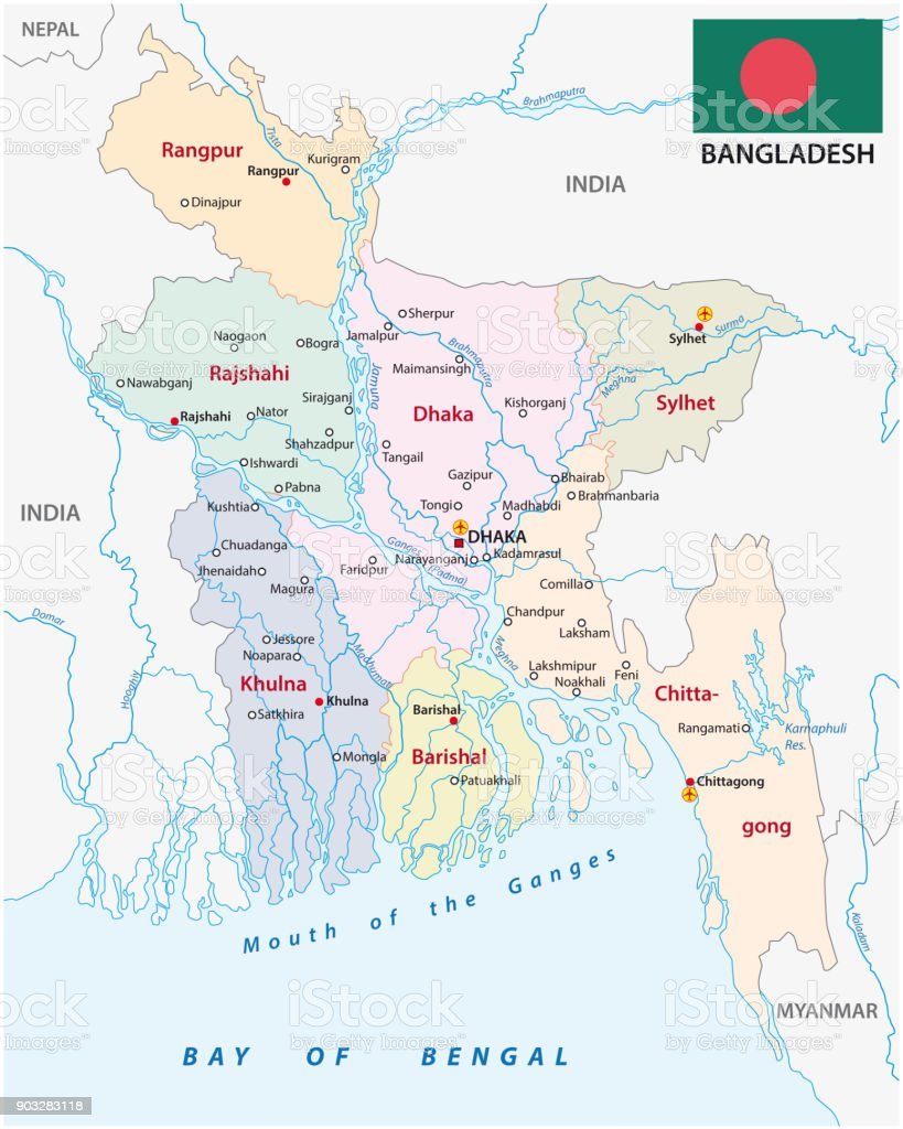 bangladesh administrative and political vector map with flag
