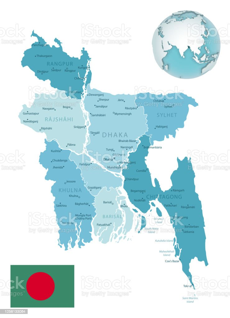 Picture of: Bangladesh Administrative Bluegreen Map With Country Flag And Location On A Globe Stock Illustration Download Image Now Istock
