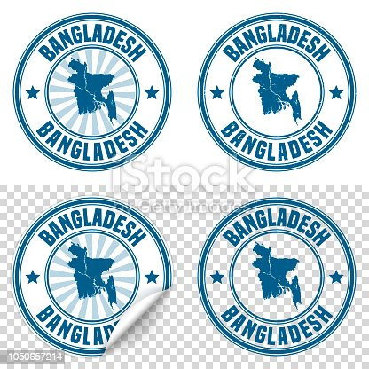 Map of Bangladesh on a blue sticker and a blue rubber stamp. They are composed of the map in the middle with the names around, separated by stars. The stamp at the top right is created in a vintage style, a grunge texture is added to create a vintage and realistic effect. Vector Illustration (EPS10, well layered and grouped). Easy to edit, manipulate, resize or colorize. Please do not hesitate to contact me if you have any questions, or need to customise the illustration. http://www.istockphoto.com/portfolio/bgblue