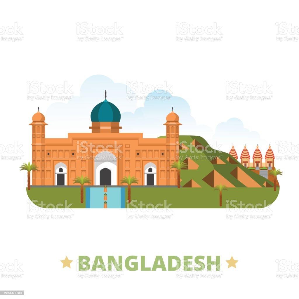 Bangladeschlanddesignvorlage Flache Cartoon Stil Historischen ...
