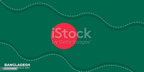 istock Bangladesh Independence day. green abstract background with white dotted line design 1303535692